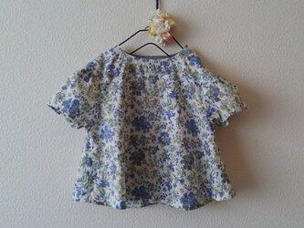 FLOWERブラウス *ブルー* size 80の画像