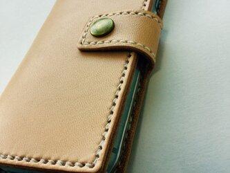革のiphoneSE,8,7ケース に natural(刻印無料)の画像