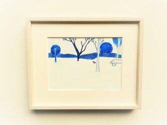 原画「夕暮れ広場」水彩イラスト ※木製額縁入りの画像