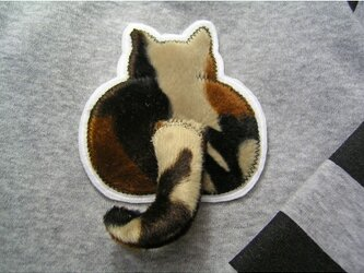 ★三毛の尻★アップリケ刺繍★猫立体ワッペン★の画像