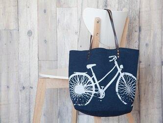 バイオウォッシュ帆布トートバッグ、自転車、ネイビーの画像
