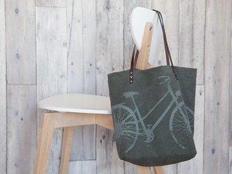 バイオウォッシュ帆布トートバッグ、自転車、グレー・オン・グレーカーキの画像