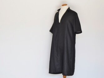 リネン台衿半袖ワンピース<ブラック>の画像