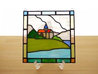 ステンドグラス ミニパネル 海の見える丘b 15cmの画像
