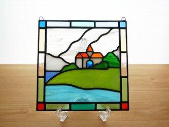ステンドグラス ミニパネル 海の見える丘(ii) 15cmの画像