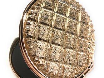 東京切子コンパクトミラー 光織‐ひかりおり‐ ピンクゴールドの画像