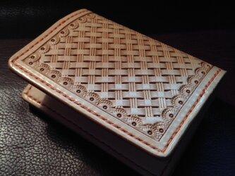 本革 手縫い バスケットスタンプの名刺入れ(カード入れ)の画像