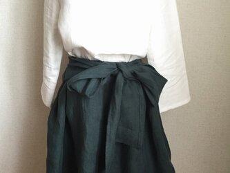 【ご予約商品】ベルギーリネン くったりシンプルなリボンスカート グリーンの画像