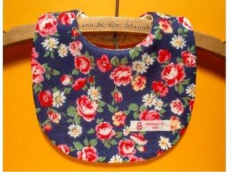 再販1❤PURE*スタイ*花柄Wガーゼ バラ&マーガレット ネイビー地 Flowerの画像