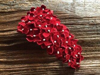 革花のバレッタ 金具7cm(花芯付き) 赤bの画像