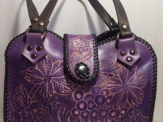 牛革カービングバック(紫)の画像