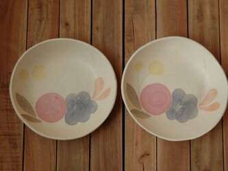 flower plate ーblue&redーの画像