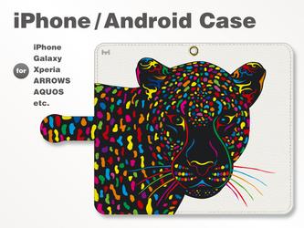 iPhone7/7Plus/Android全機種対応 スマホケース 手帳型 動物-アニマル-豹-ヒョウ-ヒョウ柄 3901の画像