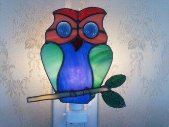 ステンドグラスナイトライト「フクロウ」の画像