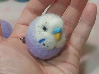 ☆選べる2タイプ☆ コロコロ♪丸顔 羊毛の小鳥  セキセイインコ オパーリン・薄紫の画像