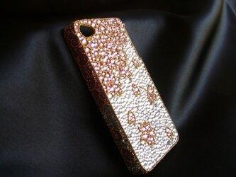 iPhone4  桜GOLD スワロフスキービーズの画像