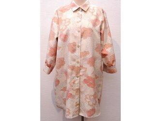 ロングシャツ(シャツワンピース/チュニック)(着物リメイク/紬)【shtO1】の画像