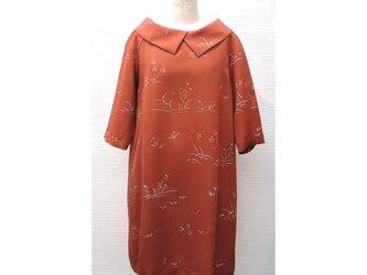 大衿チュニック(着物リメイク)(絹小紋/茶)【tun-J6】の画像