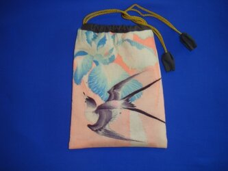 古布巾着【F-33】花菖蒲と燕の画像