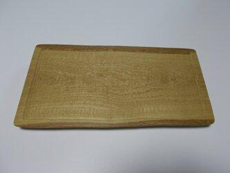 栗の木の手彫りの板皿の画像