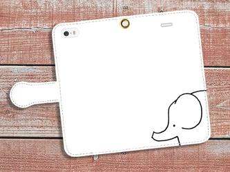 【送料無料】手帳型スマホケース 象の画像