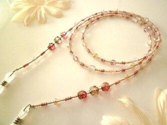 チェコガラスメガネチェーン 桜色の画像