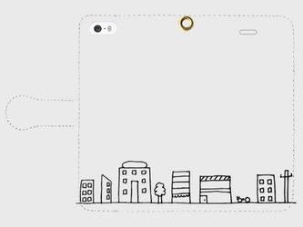 【送料無料】iPhoneSE 手帳型スマホケース まちなみの画像