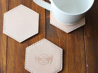 ヌメ革 手縫い六角コースターの画像