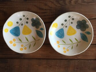 flower plate ーblue&yellowーの画像