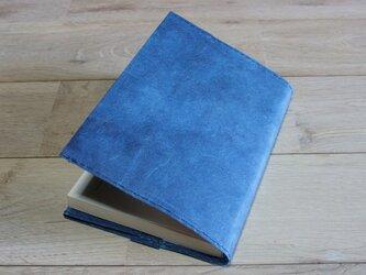 ロウ引き和紙のブックカバー(藍染)の画像