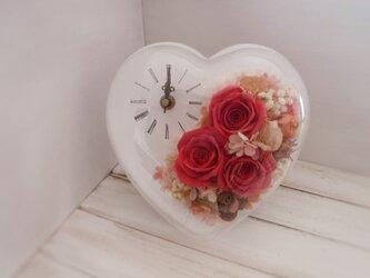 ハート型flower時計(レッド)の画像