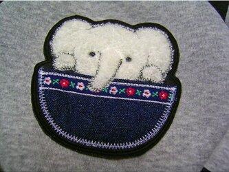 ★白い象さんとポッケ★アップリケ刺繍ワッペン★ア接着の画像