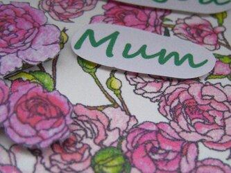 母の日カード 額縁入り 【春桃色】 カーネーション&バラ&ガーベラ(1枚)の画像