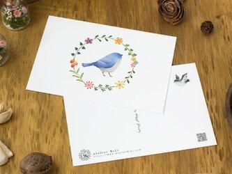 """4枚セット。絵本のような。ポストカード """"水色の小鳥と花の輪"""" PC-46の画像"""