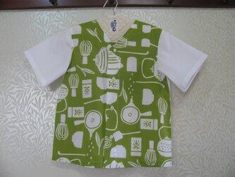 【手ぬぐいシャツ】140サイズ・お茶柄×白の画像