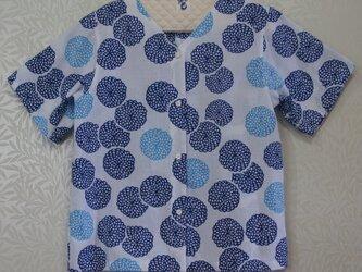 ※受注生産※【手ぬぐいシャツ】大人Mサイズ・菊(青)柄の画像