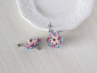 PinkとBlueの小花ピアス《イヤリング》※オーダーメイド※の画像