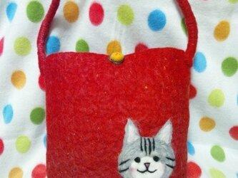 羊毛 赤のバッグ。ネコちゃんと一緒♪の画像