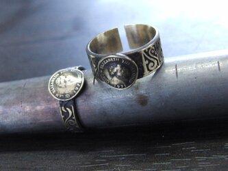 コイン彫模様真鍮ブラスリング・トゥリング 購入1点=指輪1本の販売 サイズ1号~15号の画像