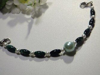 羽織紐◆グリーンマーブルと白・ロングサイズの画像