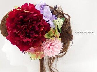 髪飾り(14)~大輪ピオニーとコデマリ~の画像