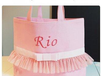 女の子サイズ変更レッスンバッグ(ピンク×ピンク)の画像