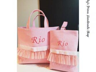 女の子レッスンバッグ・シューズ入れ2点セット(ピンク×ピンク)の画像