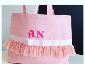 女の子内ポケット・マグネット付きレッスンバッグ(ピンク×ピンク)の画像