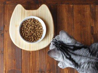 木製 ネコ顔フードテーブル(フードボウル12.5cm付)13.CATS.WORKSオリジナルの画像