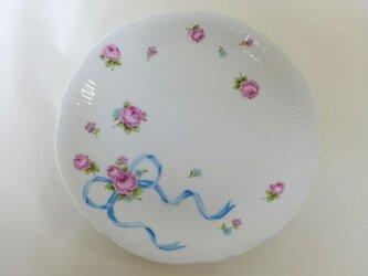 リボンのパン皿(ブルー・手描き上絵付け)の画像