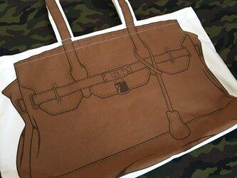 トロンプルイユ●トートバッグ(大)〈ブラウン〉の画像