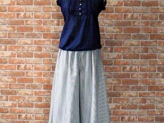 ヒッコリーストライプ フレア ガウチョ ワイド キュロット パンツの画像