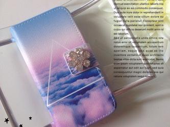 ♡fantasy cloud ビジュー付き手帳型 iPhone5,5s iPhone6,6sケース♡の画像