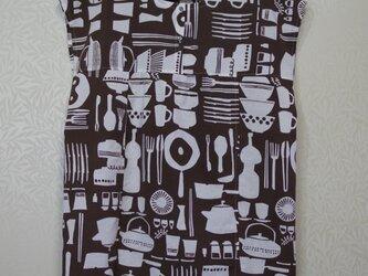※受注生産※【手ぬぐいワンピース】Mサイズ・キッチン(こげ茶)柄の画像